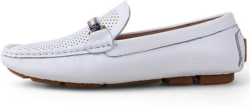 Zhulongjin Métal Mocassins Décontracté Mocassins Penny Boat chaussures Résistant à l'usure (Couleur   Blanc Creux, Taille   46 EU)