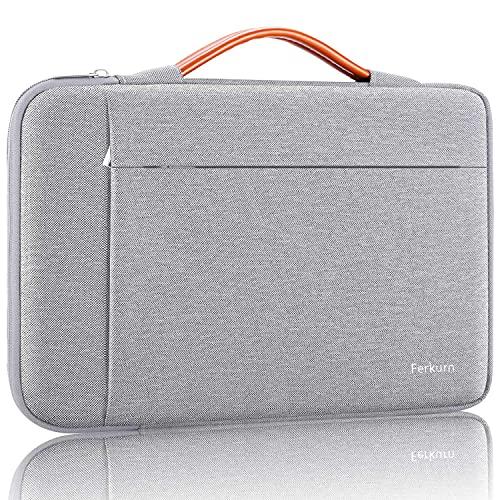 Ferkurn Chromebook Sleeve 11 11.6 pulgadas Laptop Case Funda impermeable con asa Funda protectora compatible con MacBook Air 11.6, Stream 11.6, MacBook Pro 13, Mac 12 Retina, Surface Pro X, gris claro