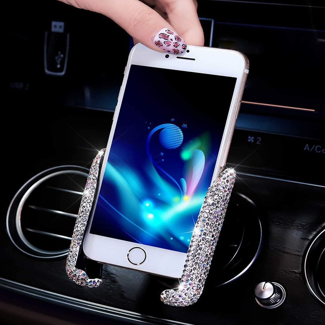 SUNCARACCL Bling Car Phone Holder Mini Car Dash Air Vent Automatic Phone Mount Universal 360°Adjustable Crystal Auto Car Stand Phone Holder Car Accessories for Women and Girls (White)