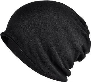 Jemis Womens Cotton Chemo Hat Beanie Scarf - Beanie Cap Bandana for Cancer (Solid Black)