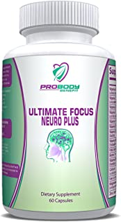 Multivitamin Supplement - Brain & Memory Ultimate Focus Neuro Plus to improve Concentration & provide an Energy Boost - contains Multivitamins, Herbs & Nootropics 60 Capsules
