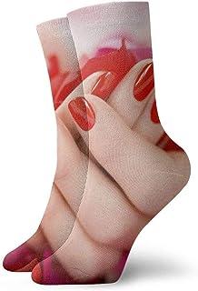 tyui7, Hermosos calcetines de compresión antideslizantes en rosa roja en la mano Calcetines deportivos acogedores de 30 cm para hombres, mujeres y niños