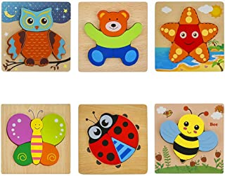 6 Pack Wooden Animal Puzzles Educational Toys, Montessori Stem Educational Toys Gifts, Educational Toys Games for Children...