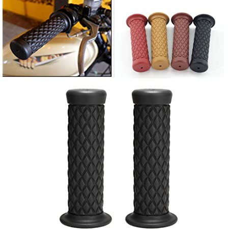 Motorcycle Hand Grips Dark Brown 1 Pair 7//8 22mm Non Slip Rubber Handlebar Grips End Thruster Grip for Honda Triumph Yamaha Kawasaki