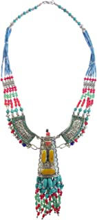TIBETAN SILVER Long Necklace for Women Silver Plated Handmade Vintage Fashion Jewellery Ethnic Tribal Gypsy Designer Buddhist Bohemian Pendant Necklace Coral Turquoise Amber Lapis Lazuli Gemstone