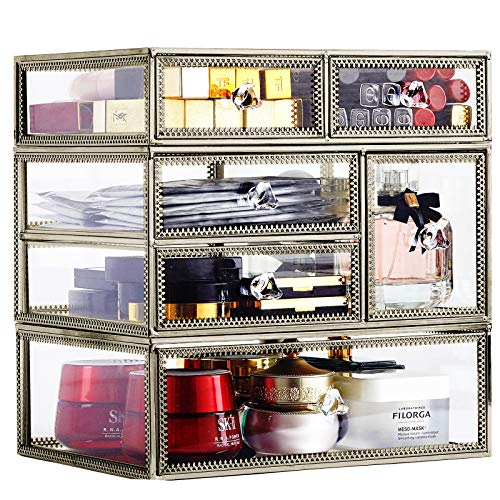 Large Antique Mirror Glass Makeup Organizer Jewelry &Cosmetic Display, Stackable Dresser Storage for Vanity with Lid Dustproof Beauty Accent Home Decorative Box (drawerset-br)