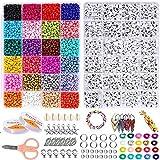 Colores Mezclados Pequeño Abalorios Set,8400Pcs Mini Cuentas de Colores de Cristal 4mm y uentas de letras para Pulseras, llaveros, complementos de vestir, regalos