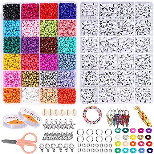 Colores Mezclados Pequeño Abalorios Set,8400Pcs Mini Cuentas de Colores de Cristal 4mm...