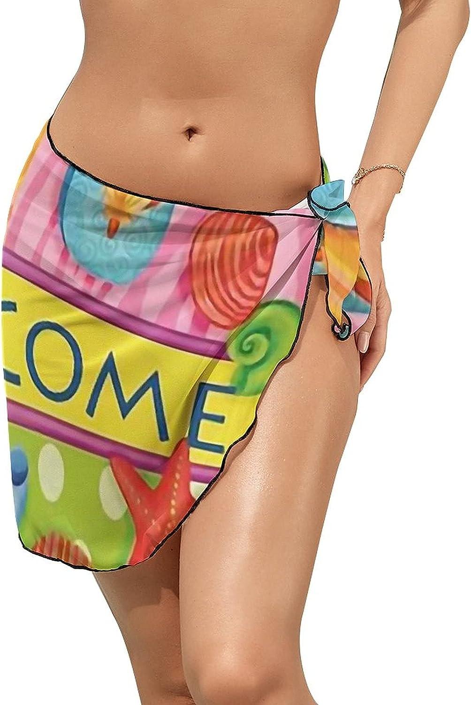 JINJUELS Women's Bikini Swimsuit Cover Up Welcome Summer Flip Flops Beach Summer Beach Wrap Skirt Pareo Sarong