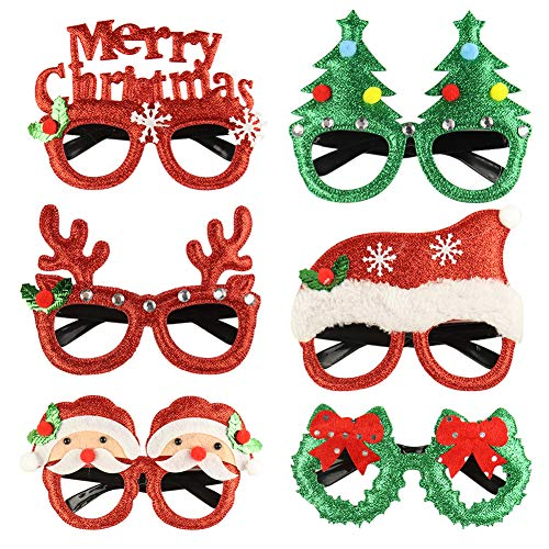 Anbaituor Christmas Party Glasses - 6 Pack Xmas Antler Glasses Glitter Party Glasses Frame Novelty Costume Glasses Christmas Decoration Eyeglasses for Party Favors Photo Frames for Kids and Adult