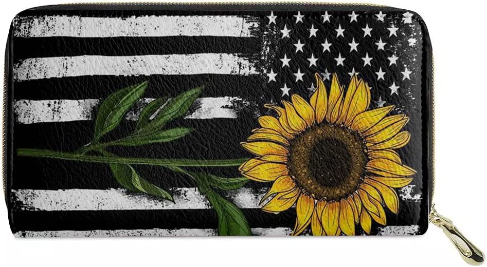 POLERO American Flag Sunflower Wallet PU Leather Purse Zipper Clutch Credit Card Holder Bag Gift for Women Teens Girls