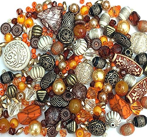 Grandes paquetes de 80 g de acrílico para hacer joyas, surtido de cuentas (naranja)