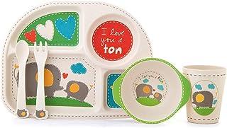 Holzsammlung Set de Vaisselle pour Enfants, Bébé Arts de la Table Set 5 Pièces Mignon Cartoon Fibre de Bambou avec Assiett...