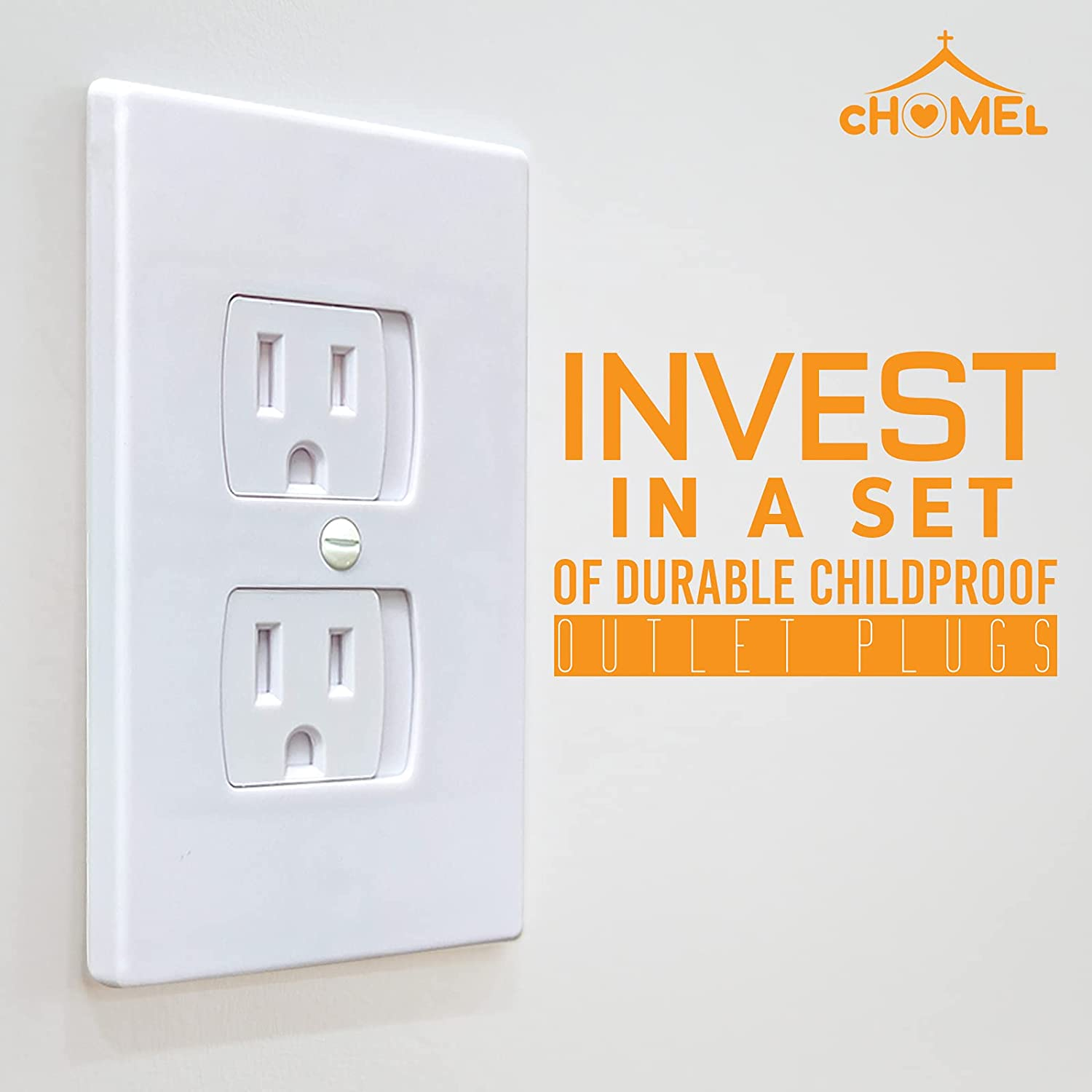 Standard Outlet Covers Child Proof by Chomel–Baby Proof Outlet Covers–Plug Covers for Electrical Outlets–Child Safety Outlet Covers-Safety Outlet Plug Cover Set–Child Outlet Protectors for Baby