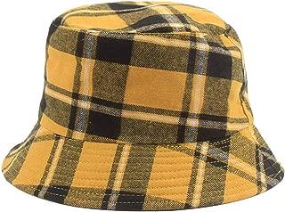Plaid Bucket Hats Women Cotton Foldable UV Protection S/M