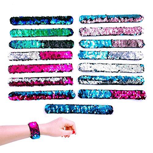 JZK 10 X Pulseras brazaletes Reversible Lentejuelas Pulseras para niños Adultos Fiesta favores niños cumpleaños Regalo Partido suministra pequeños Juguetes