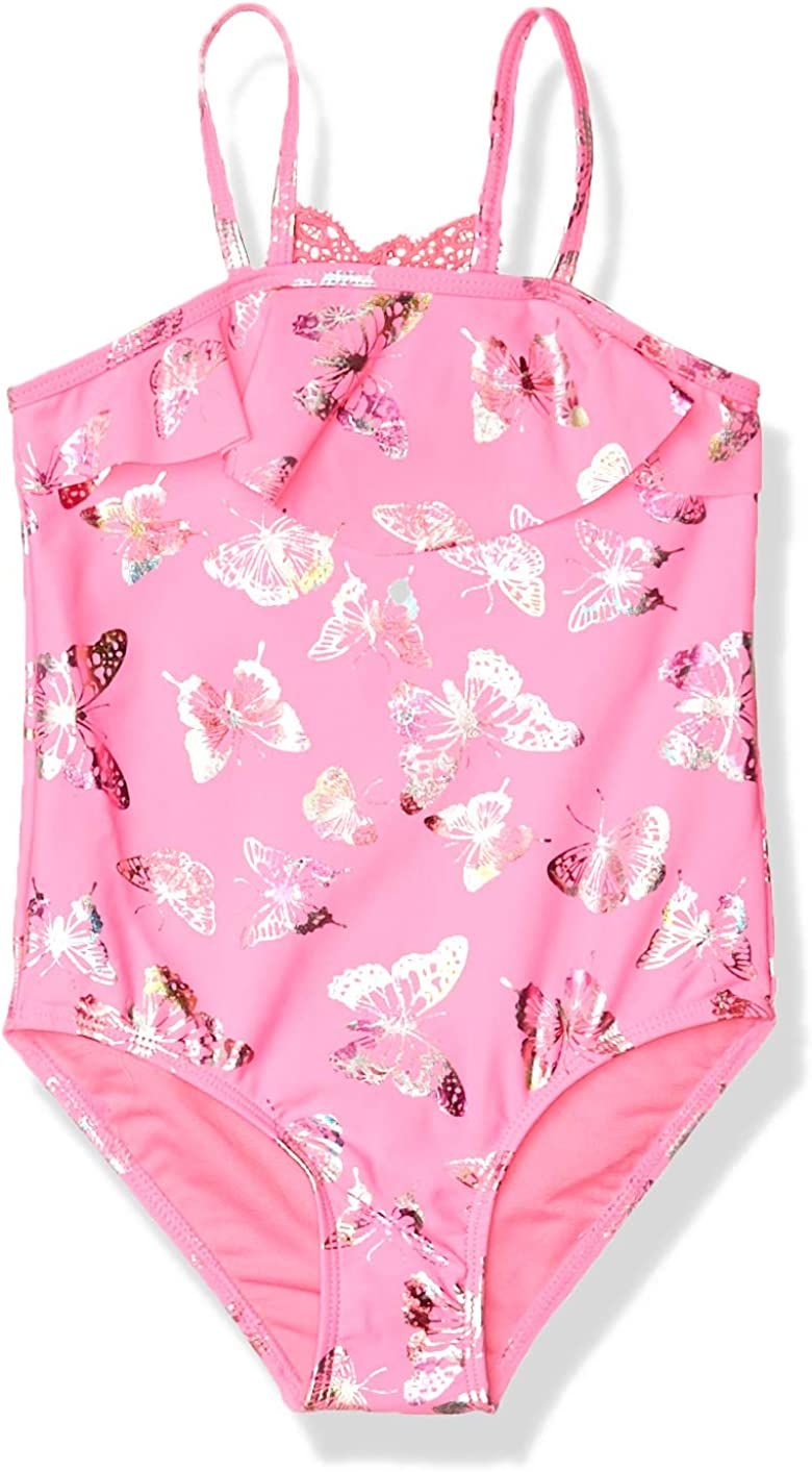 Limited Too Girls Printed One Piece Swimsuit with Ruffle