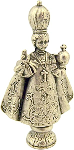 Catholic Saints Silver Tone Infant Of Prague Pocket Statue With Gold Stamped Prayer Card 1 1 2 Inch