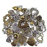 YUE QIN 100 piezas de abalorios colgantes de corazón surtidos mixtos de bronce para manualidades de bricolaje accesorios para hacer joyas