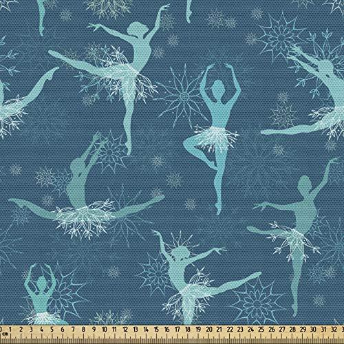 ABAKUHAUS Ballett Gewebe als Meterware, Snowflake Ballerina-Tänzer, Schön Gewebten Stoff für Polster und Wohnaccessoires, 1M (148x100cm), Petrol Blau Türkis