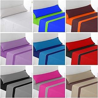 Regalitostv -Summer Colors-* Juego SÁBANAS DE Verano Lisas (3 Piezas) (Marino/Azul, 105_x_200_cm (Cama Cuerpo Y Medio))
