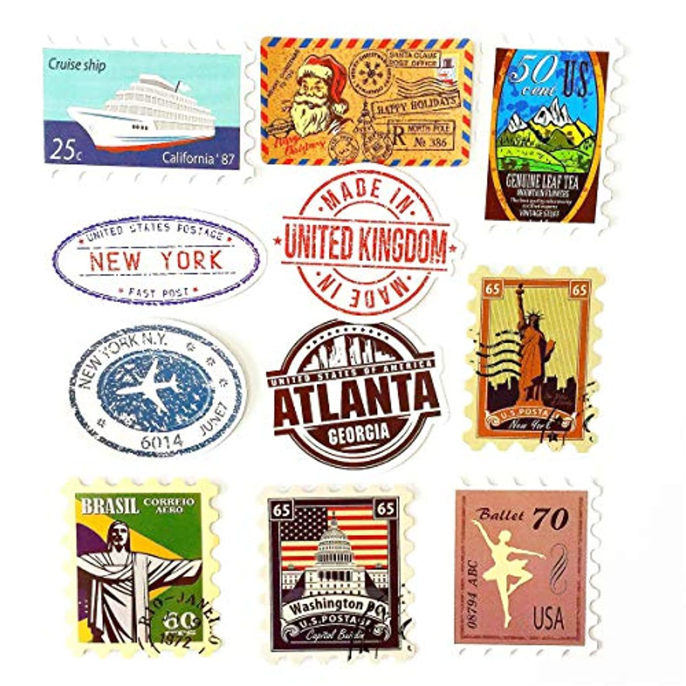 Cool Stickers (50Pcs no Repeat) Stamp Nation History US Statue of Liberty White House Pompeii Taj Mahal Office Stickers Pack for Water Bottle Laptop Skateboard Luggage Party Decor Stickers Waterproof