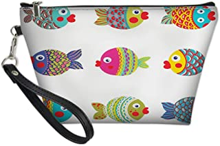 Women Portable Zipper Storage Bag,Boho Ethnic Featured Ornate Fishes Gills Under The Sea Childish Kids Nursery Theme,Make-Up Pouch Beauty Cosmetic Bag