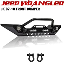 Stubby Front Bumper Rock Crawler with Fog Light, D-Ring Fit for 2007-2018 Jeep Wrangler JK