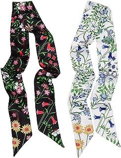 2 Pack Floral Skinny Scarf Set Autumn Winter Neckerchief Handbag Handle Wraps