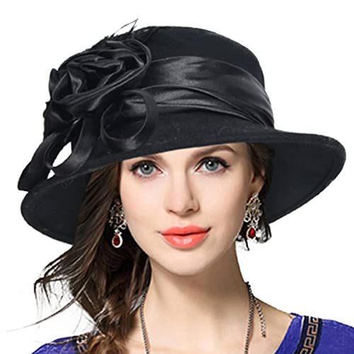 2cb1e59c5f7aa VECRY Women s Wool Church Dress Cloche Hat Plumy Felt Bucket Winter Hat