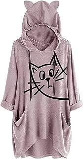 haoricu Women's Plus Size Sweatshirt Cute Cat Ears Hooded Sweater Irregular Hem Long Sweatsirt