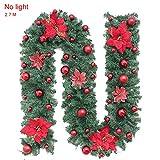 Guirnalda de Navidad 2.7M Guirnalda Navideña Guirnalda Decoración para Árbol Guirnalda Artificial Decoracion de Navidad Guirnalda de Abeto para Hogar Escaleras Chimeneas Puertas Ventana