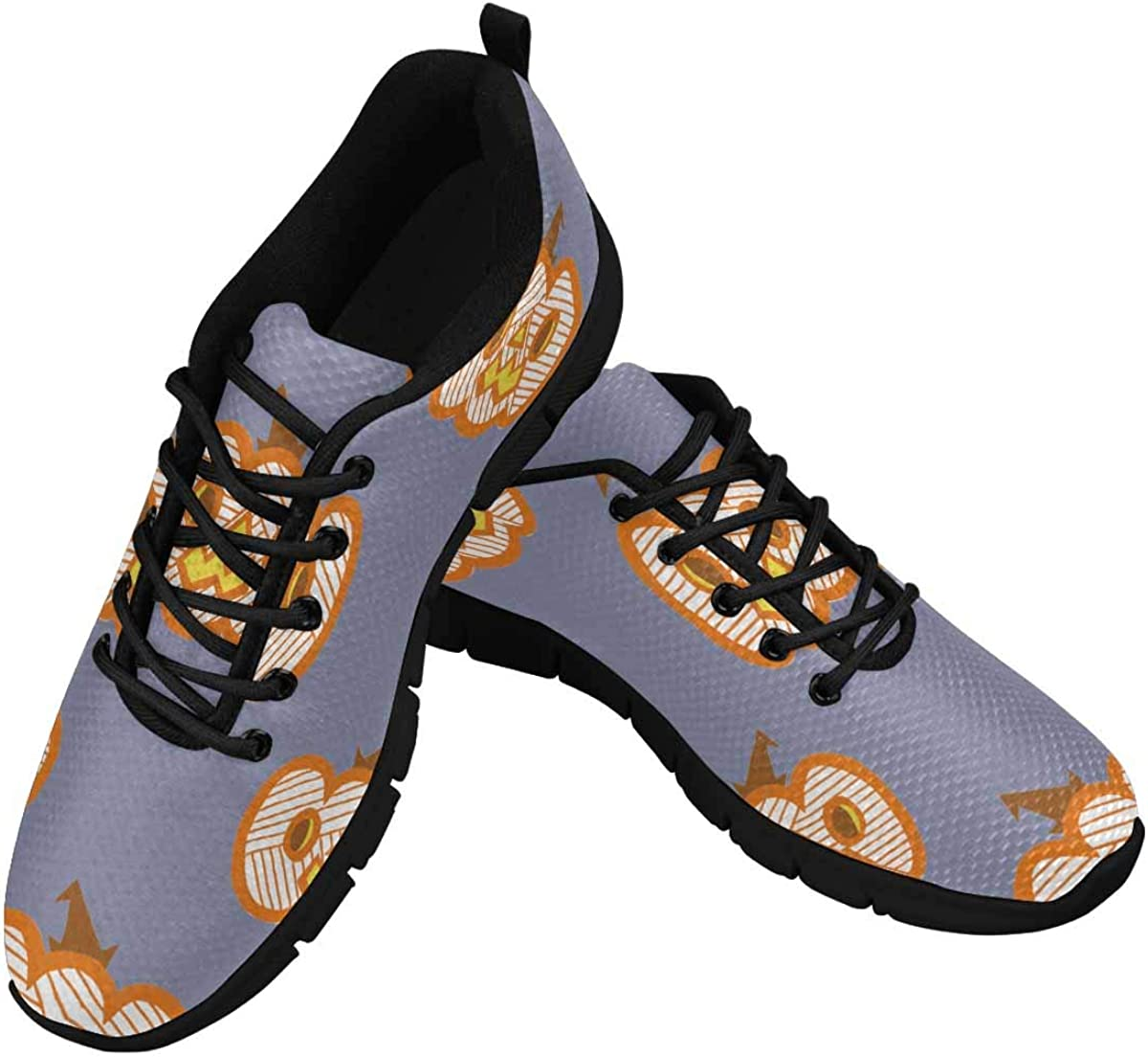 InterestPrint Orange Mummy Pumpkin Cartoon Women's Athletic Walking Shoes Breathe Comfort Mesh