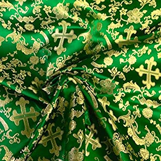 Metallic Church Cross Brocade Fabric 60 (Kelly Green / Gold)