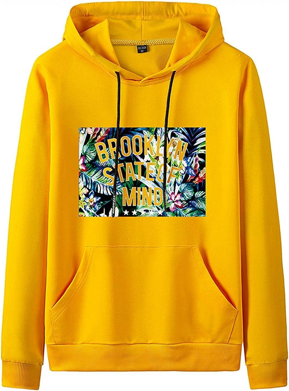 Men's Hooded Sweatshirts Crewneck College Blue Yellow Black White Classic Drawstring Pullover Hoodies with Kanga Pocket