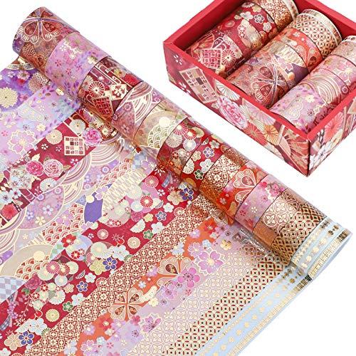 15 Rollen Washi Tape Set,Washi Klebeband Set Dekoratives Washi-Tape mit 4 Größen Bunte Washi Masking Dekorative Klebebänder Japanisches Masking Tape Pastell Washi Tapes für DIY Crafts Scrapbooking