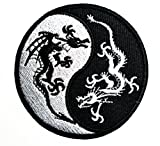 HHO Yin Yang Black & White Dragons China Patch Embroidered DIY Patches, Cute Applique Sew Iron on Kids Craft Patch for Bags Jackets Jeans Clothes