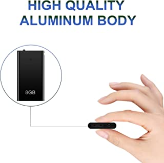 Voice Recorder, Mini Voice Activated Recorder, 8GB Memory, Recording Device w/USB Rechargeable and MP3 Functions, Ideal for Lectures, Meetings, Interviews, Up to 96 Hours