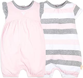 Baby Girls Rompers, Set of 2 Bubbles, One Piece Jumpsuits, 100% Organic Cotton