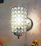 BrightLyts Lámpara de pared de cristal para decoración del hogar, dormitorio, sala de dibujo, mediano, color plateado