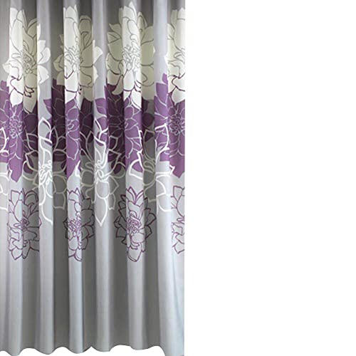 Sfoothome 180cm Wide X 200cm Long Gray Purple Followers Printed Shower CurtainWaterproof Curtain