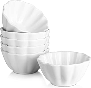 Dowan 4 Oz Porcelain Ramekins for Baking Serving Bowls for Souffle, Creme Brulee and Dipping Sauces, Set of 6, White