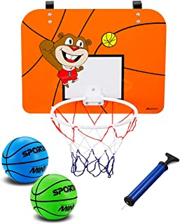 Mini Basketball Hoop with 16 x 12 Inch Over The Door Mount Shatterproof Backboard, Includes 2Pcs 6.5 Inch Bright Colors Balls and Pump, Fun Play Basketball System For Kids and Adult