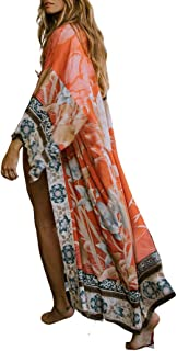 Women's Open Front Loose Floral Print Kimonos Beach Cover up