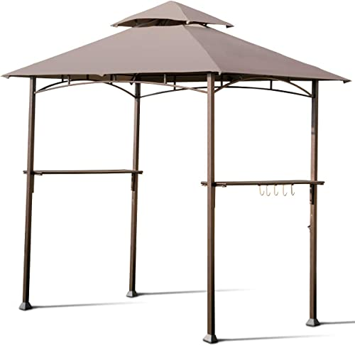 high quality Giantex Barbecue Grill outlet sale Gazebo BBQ Canopy Tent Outdoor Patio Shelter Double Tier UV-Resistant 2021 Roof W/Air Vent Steel Frame Hooks Bottle Opener, 8'X5' Tan outlet online sale