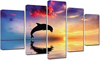 Nautical Decor Multi Canvas wall art - High Definition Sunset Dolphin Wall Decor Nature Seascape Giclee canvas print artwork wall pictures for living room decoration large size 5 piece framed painting