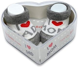 Meray, Calcetines de bebé recién nacido, 0–3 meses, para niños y bebés, de algodón grueso y asas antideslizantes, regalo perfecto para recién nacidos, bebés y baby showers |