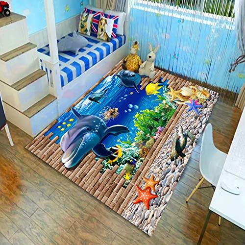 Oukeep Alfombra Oceánica para La Habitación De Los Niños, Mesa De Centro De Sala De Estar Impermeable Y Antideslizante, Alfombra De Noche para El Dormitorio, Lavable para Niños
