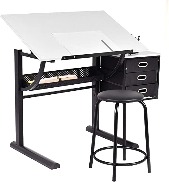 Drafting Table Art Craft Drawing Desk Adjustable With Stool Perfect For Home Studio Or School