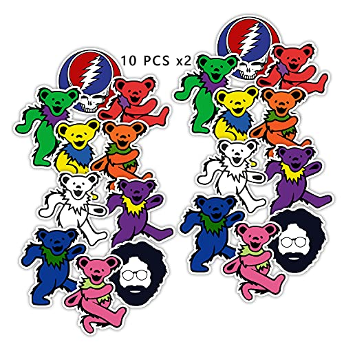 GTOTd Stickers for Jerry Dancing Bear Rock Band(20pcs,Large Size)Merch Grateful Dead Gifts Party Supplies Decal for Car Window Vinyl Phone Laptop Bottles Teens Girls .